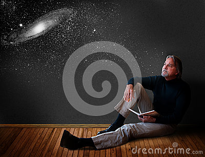 man-thinking-reclines-wooden-floor-open-journal-dreaming-universe-39839982
